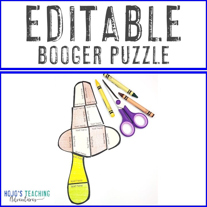 FREE Editable Booger or Snot Puzzle for Elementary Kids