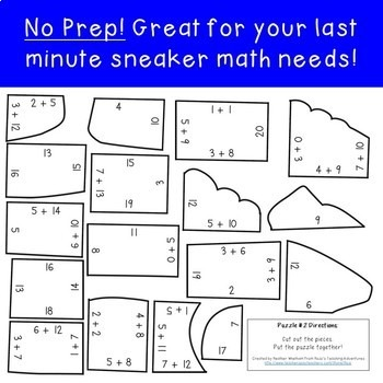 Addition Sneaker Puzzles for 1st, 2nd, or 3rd Grade