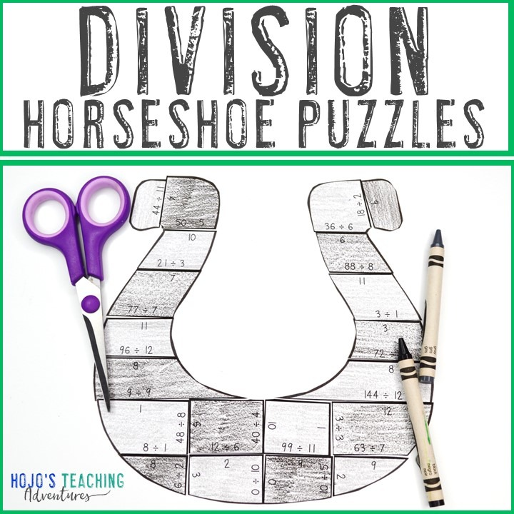 DIVISION Horseshoe Puzzles for 3rd, 4th, or 5th Grade