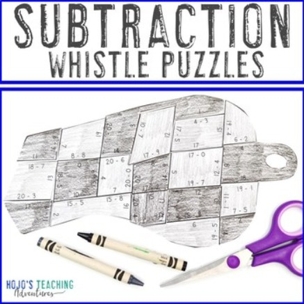 Subtraction Whistle Puzzles for 1st, 2nd, or 3rd Grade