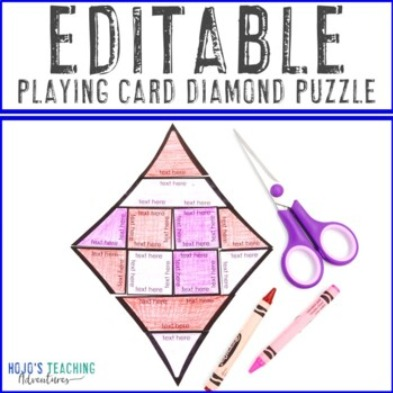 EDITABLE Playing Card Diamond Puzzle
