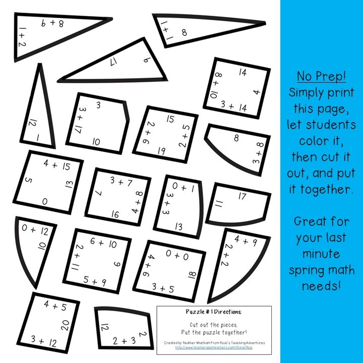 ADDITION Raindrop Puzzles for 1st, 2nd, or 3rd Grade