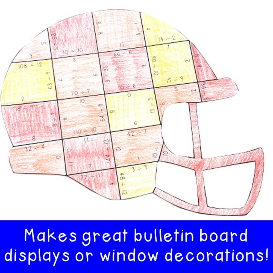 DIVISION Football Helmet Puzzles for 3rd, 4th, or 5th Grade Kids