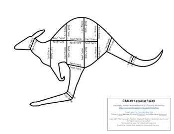 EDITABLE Kangaroo Puzzle for Elementary or Middle School Kids