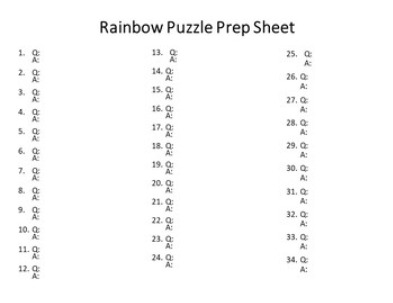EDITABLE Rainbow Puzzle for Elementary or Middle School