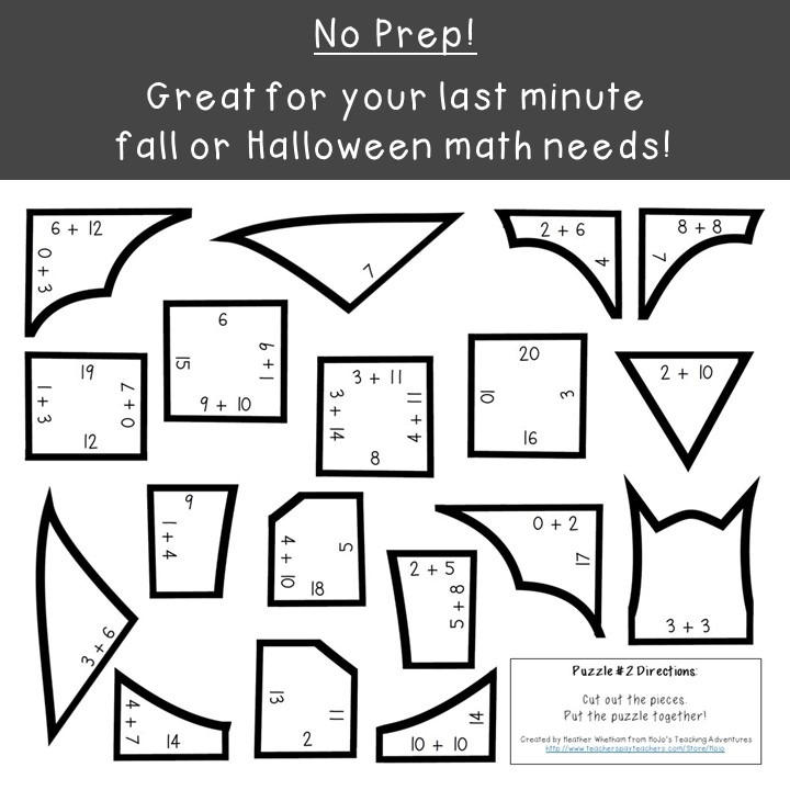 ADDITION Bat Puzzles for 1st, 2nd, or 3rd Grade