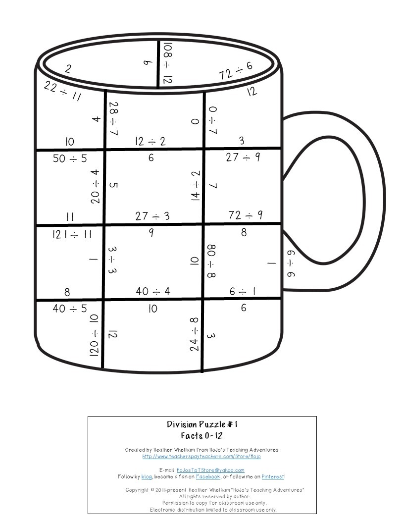 DIVISION Mug Puzzles for 3rd, 4th, or 5th Grade Kids