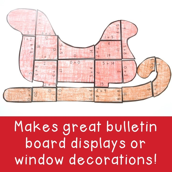 ADDITION Sleigh Puzzles for 1st, 2nd, or 3rd Grade