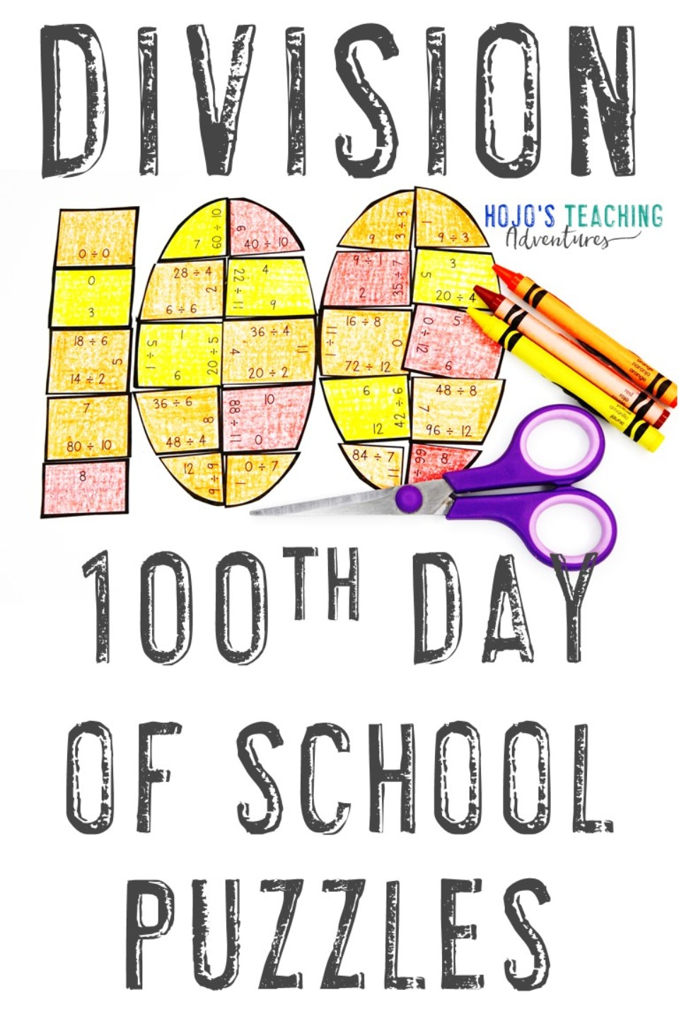DIVISION 100th Day of School Puzzles for 3rd, 4th, and 5th Grade