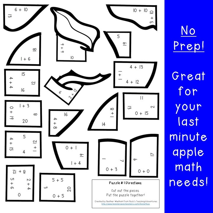 ADDITION Apple Puzzles for 1st, 2nd, or 3rd Grade