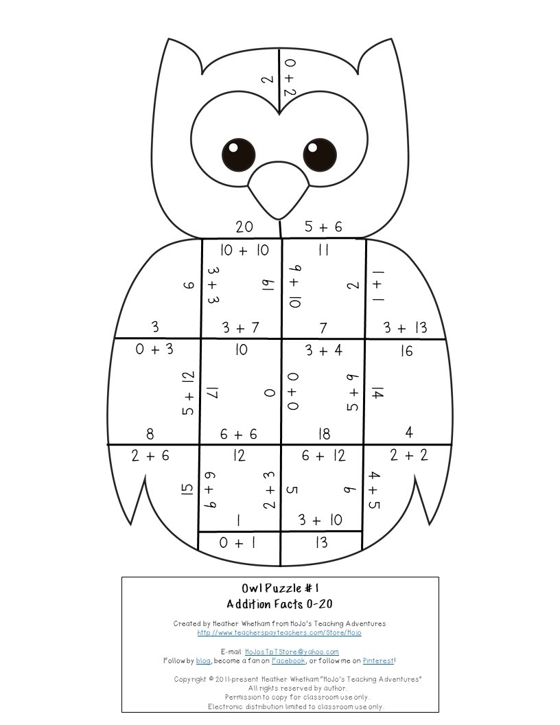 ADDITION Owl Puzzles for 1st, 2nd, or 3rd Grade