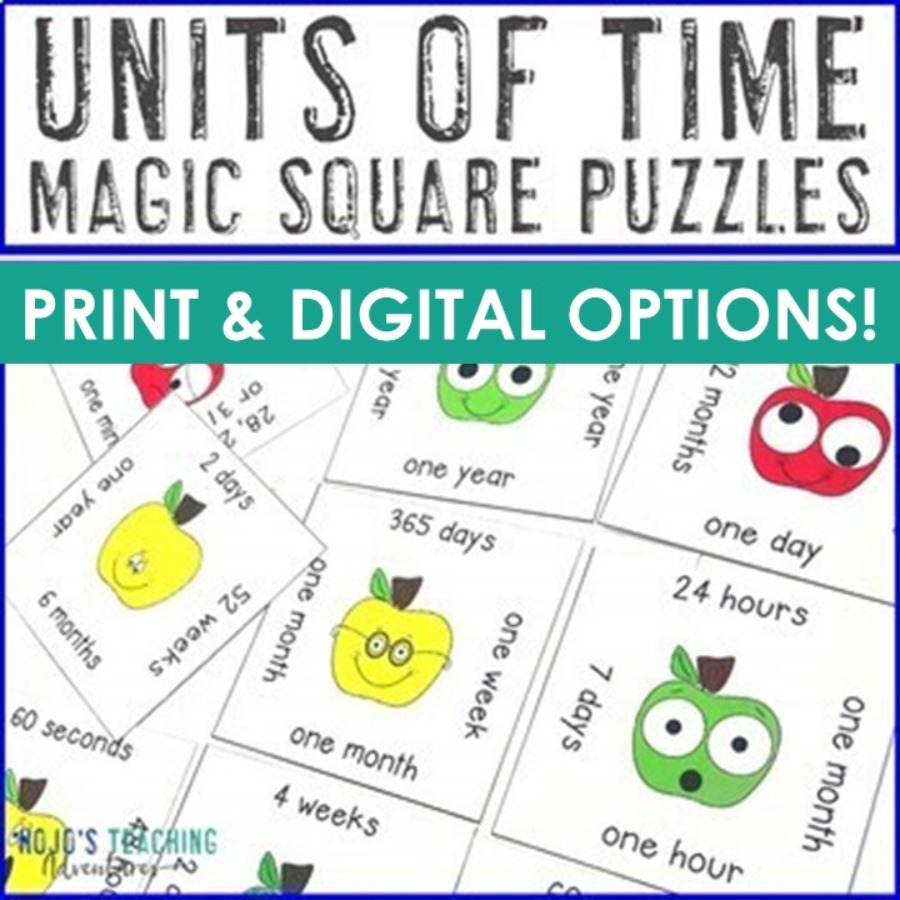 Units of Time Magic Square Puzzles - Print AND Digital Options