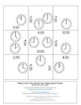 Telling Time to the Hour and Half Hour Magic Square Puzzles