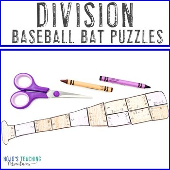 Division Baseball Bat Puzzles for 3rd, 4th, or 5th Grade