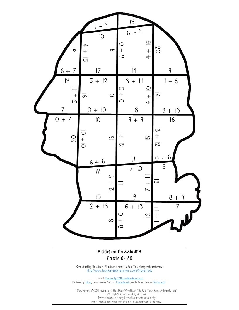 ADDITION President George Washington Puzzles for 3rd, 4th, or 5th Grade