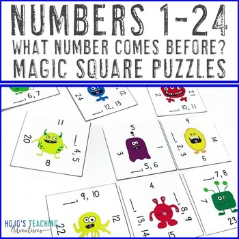 Numbers 1-24 Math Center Game: What Number Comes Before?
