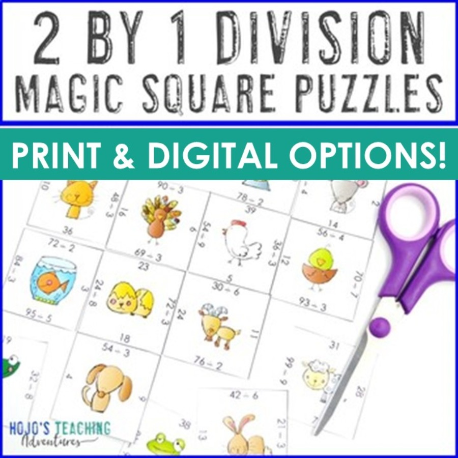 2 Digit by 1 Digit Division Magic Square Puzzles - Print AND Digital Options