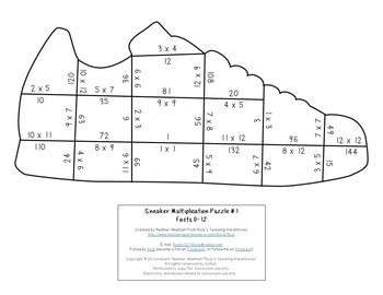 Multiplication Sneaker Puzzles for 3rd, 4th, or 5th Grade