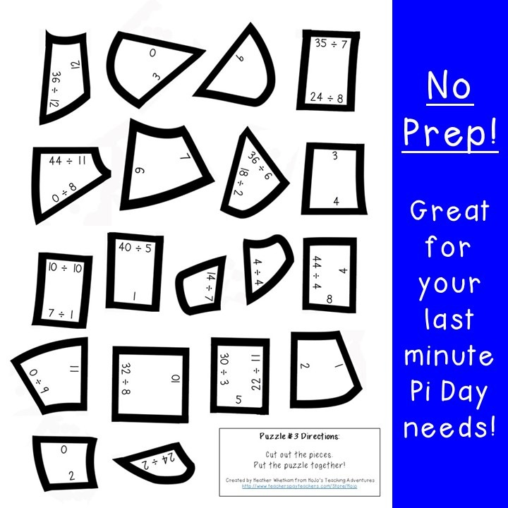 DIVISION Pi Day Puzzles for 3rd, 4th, or 5th Grade