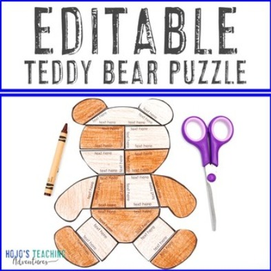 EDITABLE Teddy Bear Puzzle