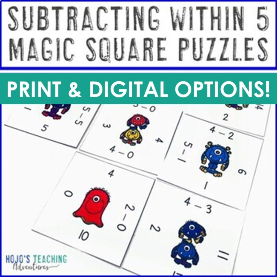 Subtracting within 5 Magic Square Puzzles - DIGITAL and PRINT options!