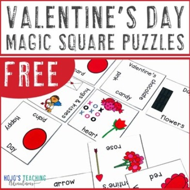 FREE Valentine's Day Magic Square Puzzles