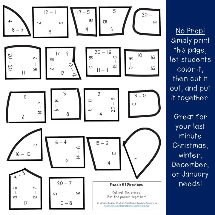 SUBTRACTION Mitten Puzzles for 1st, 2nd, or 3rd Grade