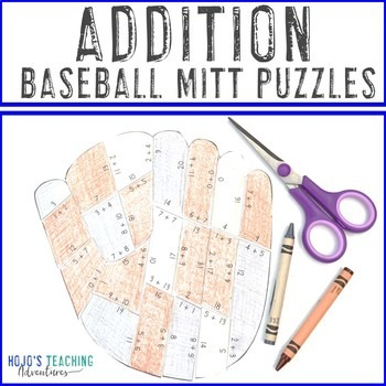 Addition Baseball Mitt Puzzles for 1st, 2nd, or 3rd Grade