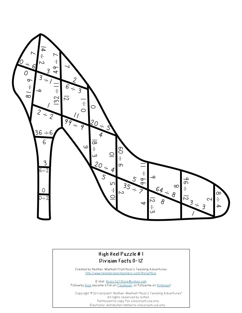 DIVISION High Heel Puzzles for 3rd, 4th, or 5th Grade