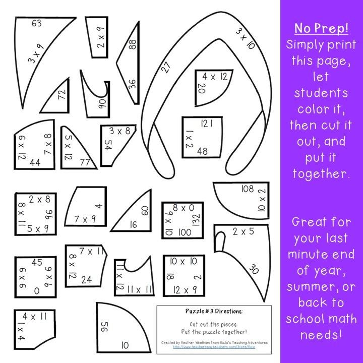 MULTIPLICATION Flip Flop Puzzles for 3rd, 4th, or 5th Grade