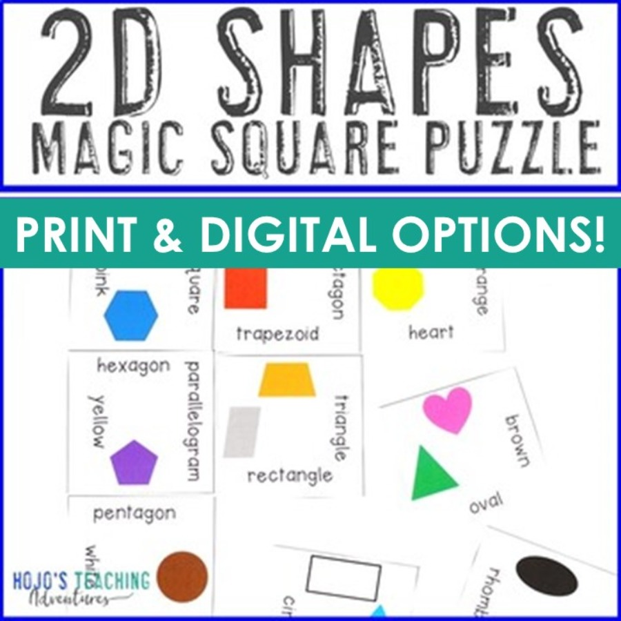 2D Shapes Magic Square Puzzle - PDF and Digital Options