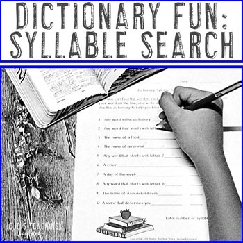 Dictionary Skills - Syllable Search for Upper Elementary Kids