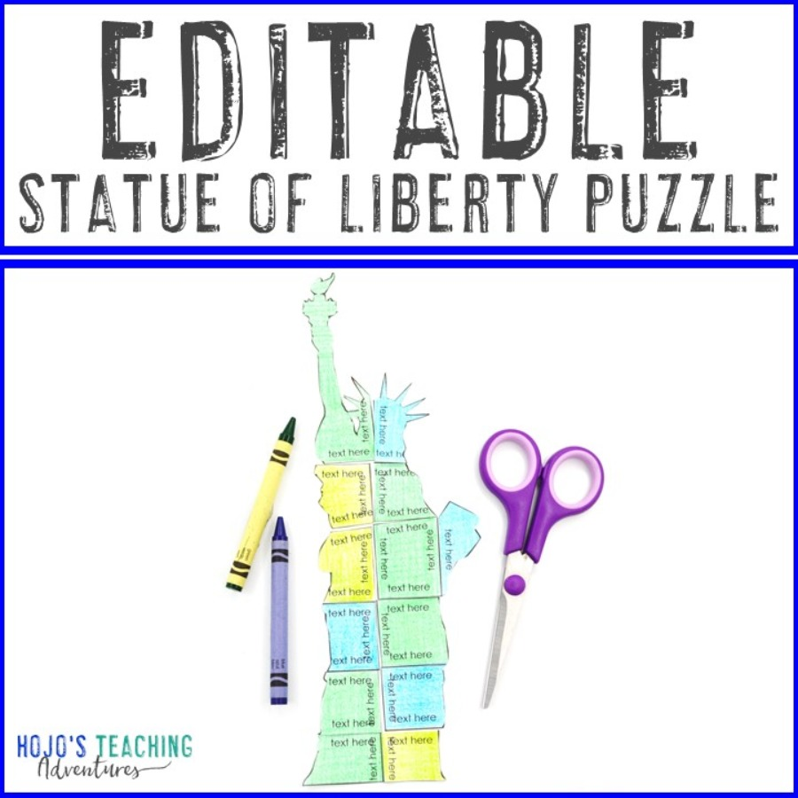 EDITABLE Statue of Liberty Puzzle for Elementary or Middle School Kids