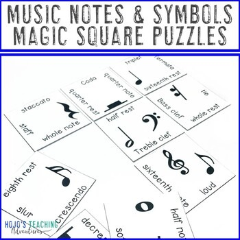 Music Notes and Symbols Magic Square Puzzles