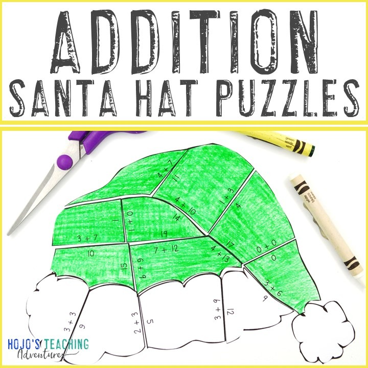 ADDITION Santa Hat Puzzles for 1st, 2nd, or 3rd Grade Kids