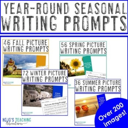 EDITABLE Seasonal Picture Writing Prompts BUNDLE