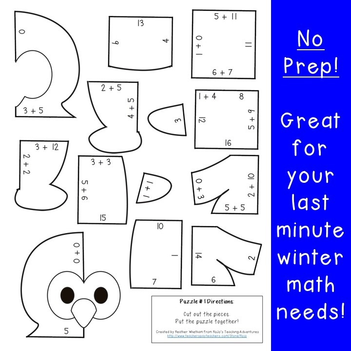 ADDITION Penguin Puzzles for 1st, 2nd, or 3rd Grade