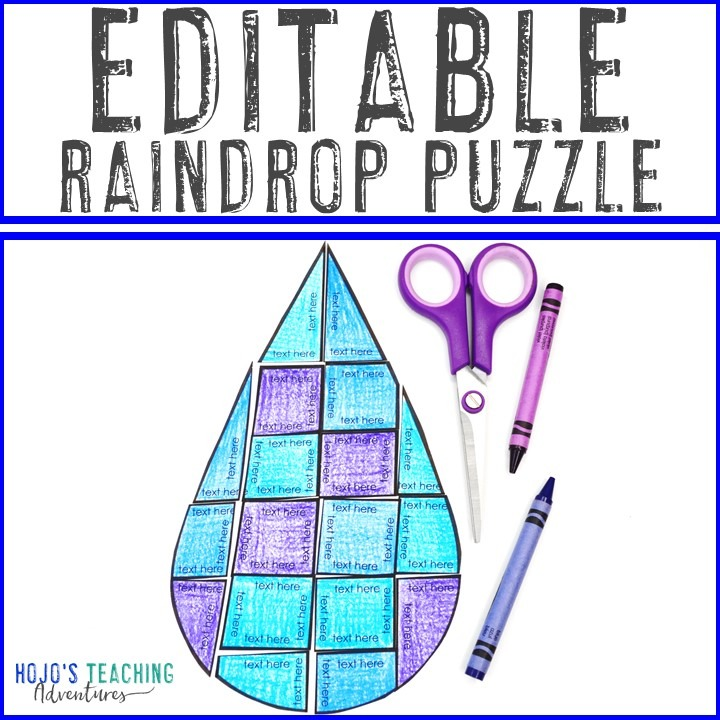 EDITABLE Raindrop Puzzle for Elementary or Middle School Kids