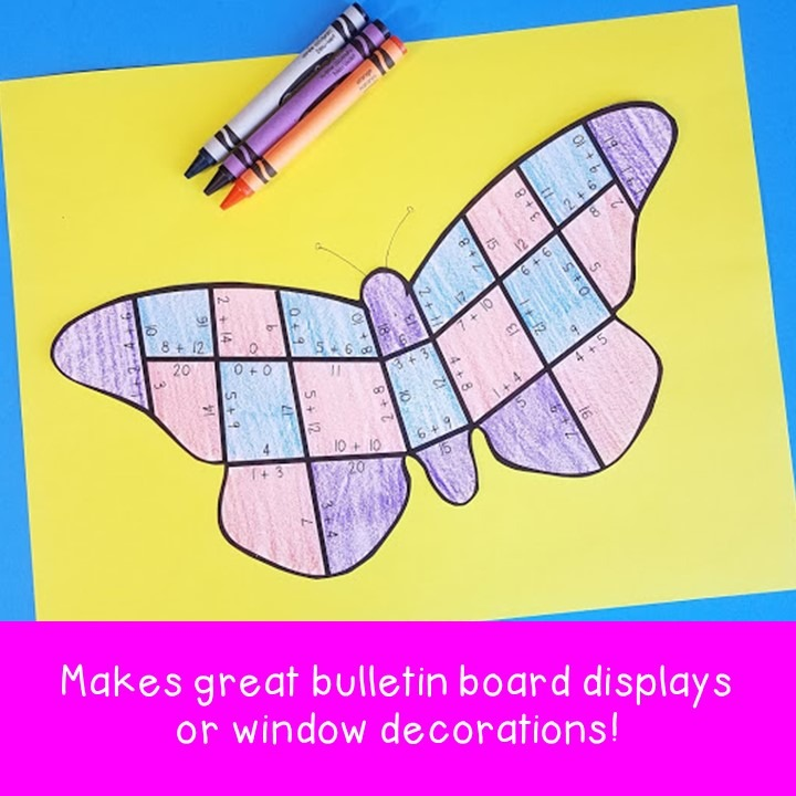 ADDITION Butterfly Puzzles for 1st, 2nd, or 3rd Grade