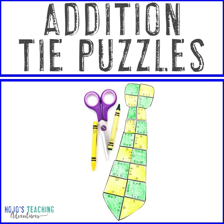 ADDITION Tie Puzzles for 1st, 2nd, or 3rd Grade