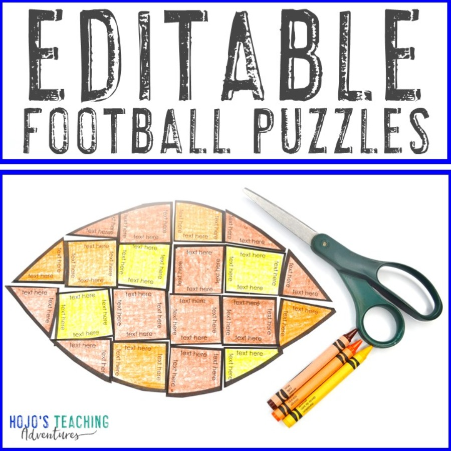EDITABLE Football Puzzle for Elementary and Middle School Kids