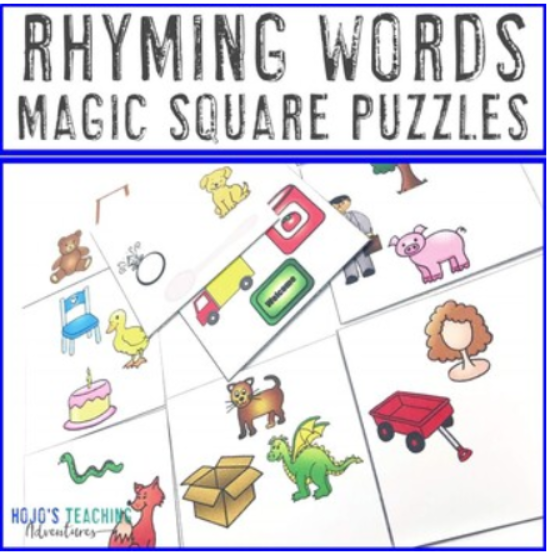 Rhyming Words Magic Square Puzzles
