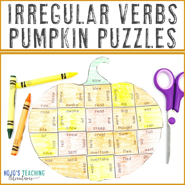 IRREGULAR VERBS Pumpkin Puzzles for 2nd, 3rd, 4th, 5th, and 6th Grade