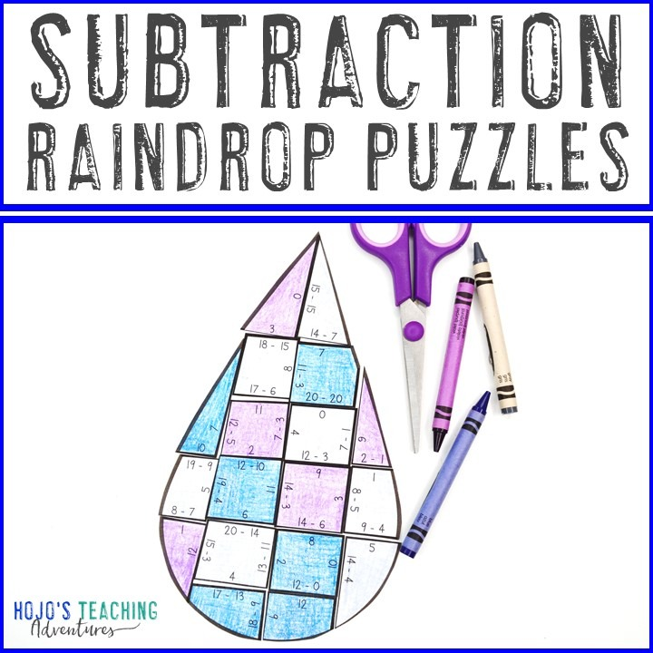 SUBTRACTION Raindrop Puzzles for 1st, 2nd, or 3rd Grade