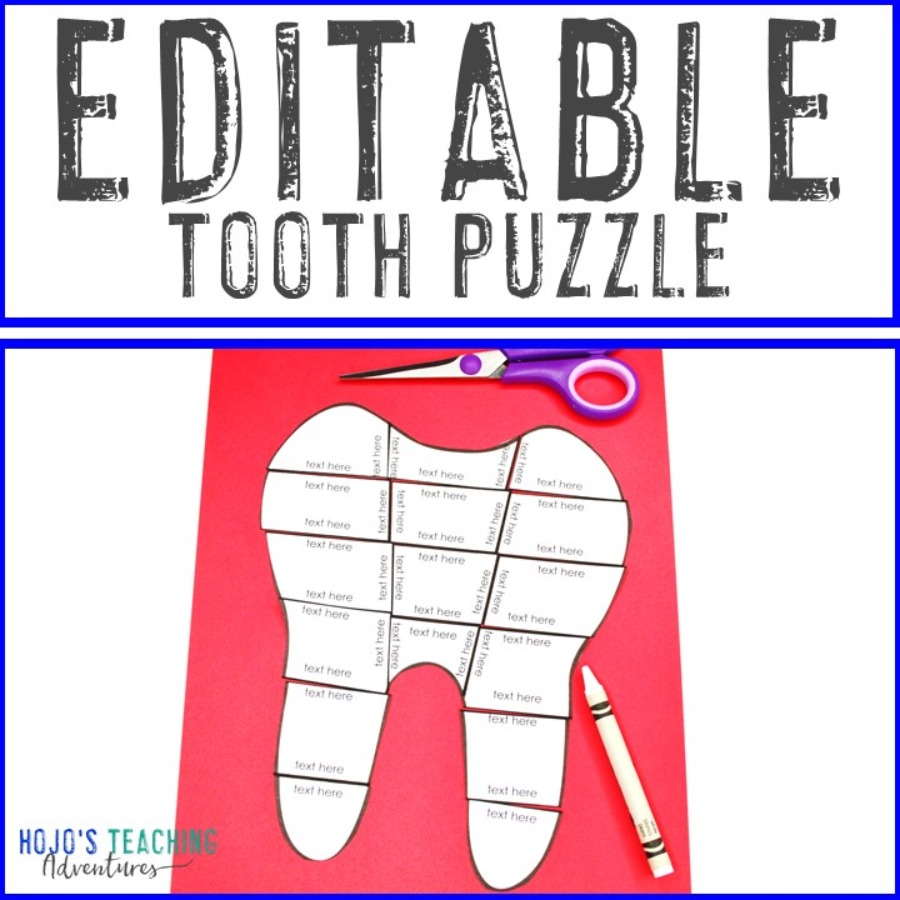 EDITABLE Tooth Puzzle