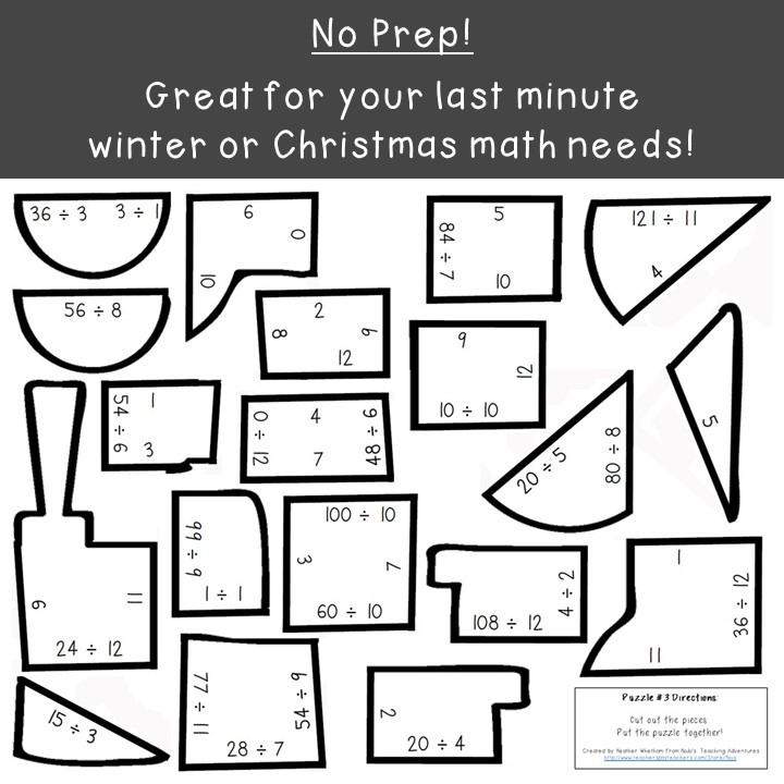 DIVISION Train Puzzles for 3rd, 4th, and 5th Grade