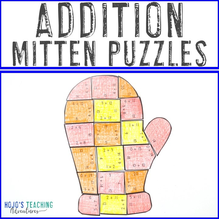 ADDITION Mitten Puzzles for 1st, 2nd, or 3rd Grade
