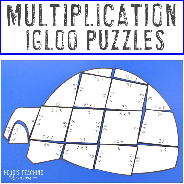 MULTIPLICATION Igloo Puzzles for 3rd, 4th, or 5th Grade