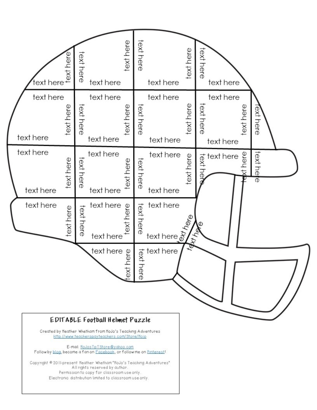 EDITABLE Football Helmet Puzzles for Elementary or Middle School
