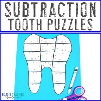 Subtraction Tooth Puzzles for 1st, 2nd, or 3rd Grade Kids